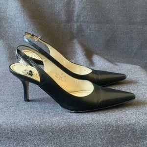 Coach Alena Black Leather Slingback Heels